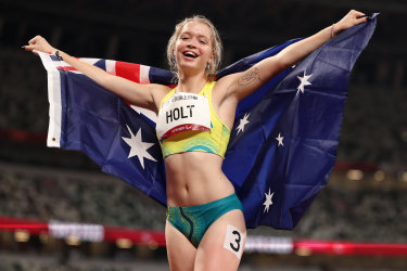 Isis Holt celebrates after taking silver in the T35 200m.