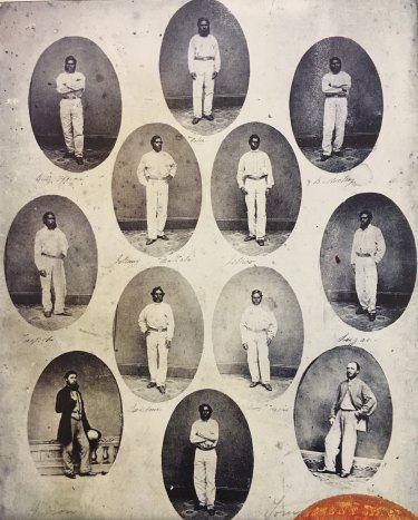 The men of the 1868 touring side. Johnny Mullah (sic) is in the second row from the top, on the left.