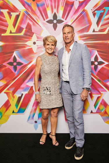 Julie Bishop and David Penton at the Louis Vuitton store re-opening.