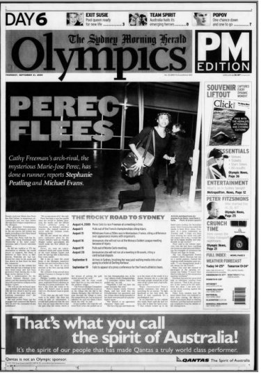 How the Herald reported Perec's dramatic exit from the Games.