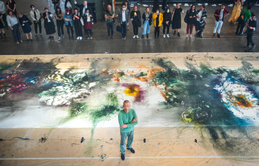 An aerial view of Transient II (Peony) shortly after completion, created by Cai Guo-Qiang in Melbourne earlier this year.