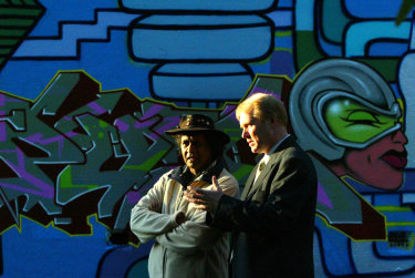 Aboriginal pastor Ray Minniecon, left, in Sydney in 2006, with Phillip Heath, former headmaster of St Andrew's Catholic School, where Minniecon helped establish a school for Aboriginal and Torres Strait Islander children.
