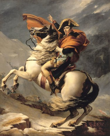 Jacques-Louis David's Napoleon Bonaparte, First Consul, Crossing the Alps at Great St Bernard Pass, 20 May 1800 (1803).