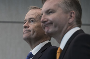 The Leader of the Opposition, Bill Shorten  and Shadow treasurer Chris Bowen.
