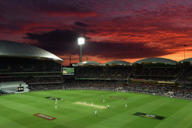 The day-night Test scene at the Adelaide Oval.