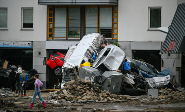 Streets and homes damaged by the flooding of the Ahr River in Bad Neuenahr, Germany.