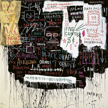 Jean-Michel Basquiat, Museum security (Broadway meltdown), 1983;  acrylic, oilstick, and collage on canvas.