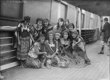 Princess Rangiriri and her Nine Maori Maids on the deck of the S.S. Moeraki, Sydney, June 1925