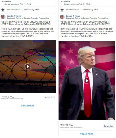 "Donald Trump's ""invasion"" advertisements on Facebook."