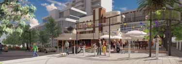 Artist's impression of Cygnet Square, with the heritage-listed cinema at its centre.
