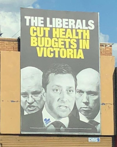 A campaign poster featuring Matthew Guy with Prime Minister Scott Morrison and Home Affairs Minister Peter Dutton.