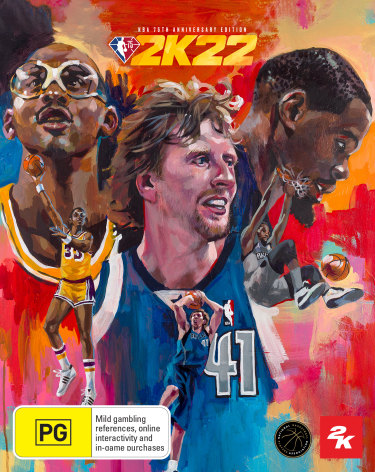 The NBA 2K22 NBA 75th anniversary video game cover featuring Kareem Abdul-Jabbar (left), Dirk Nowitzki (middle) and Kevin Durant (right).