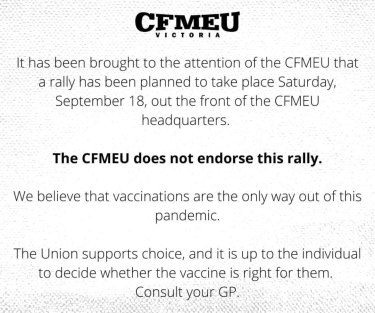A post on the CFMEU Facebook page from September 1