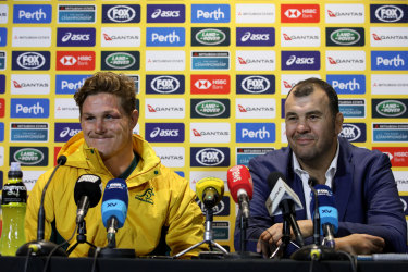 Michael Cheika and Michael Hooper during the post-match press conference.