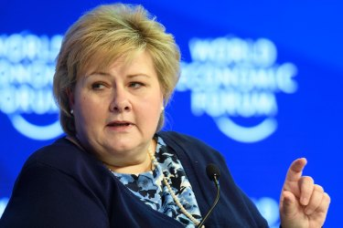 """Prime Minister Erna Solberg says the country has """"taken control"""" of the coronavirus outbreak in Norway."""