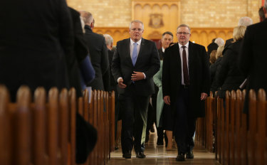 Prime Minister Scott Morrison and Opposition Leader Anthony Albanese at a church service to mark the start of the new Parliament.
