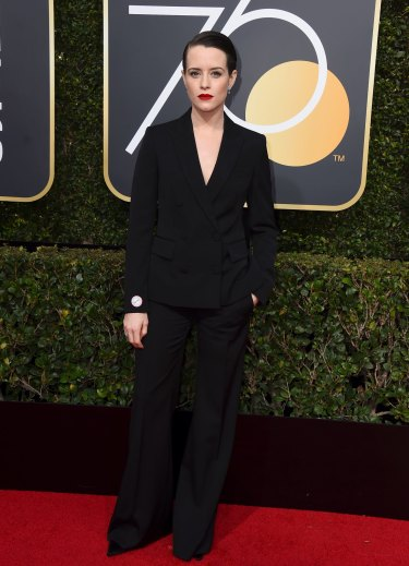 Claire Foy was one of the women who wore a full suit to the Golden Globes.