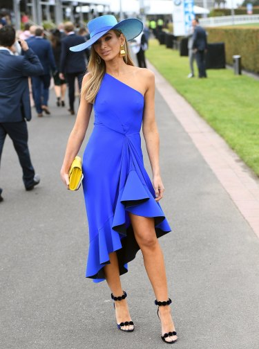 Nadia Bartel shone in cobalt Dion Lee at Caulfield.