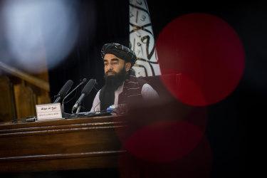 Taliban government spokesman Zabihullah Mujahid gives a press conference in Kabul, Afghanistan.