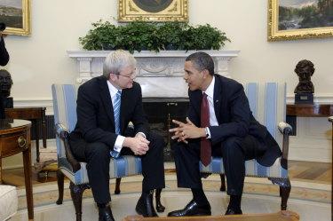 Former prime minister Kevin Rudd with former US president Barack Obama.