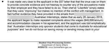 A section of the Department of Home Affairs visa refusal letter of July 15.