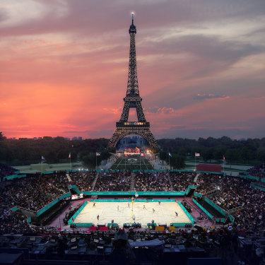And artist impression of the proposed Eiffel Tower Stadium, which will host beach volleyball for the Olympics and blind football for the Paralympics.
