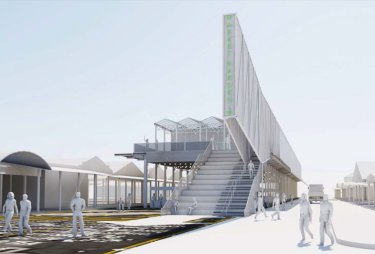"""An artist's impression of a proposed temporary """"greenhouse"""" pavilion to be built on Queen Street, between the two sides of the Queen Victoria Market."""