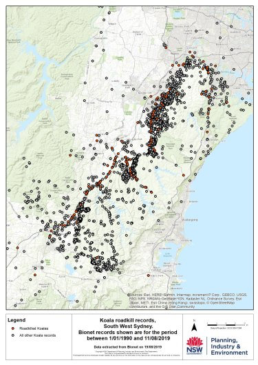 Koala roadkill locations in south-western Sydney.