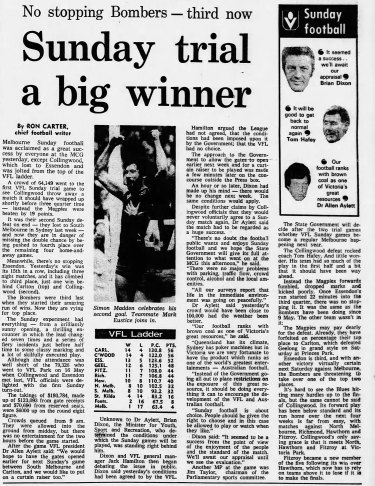 The match report published in The Age on August 3, 1981.