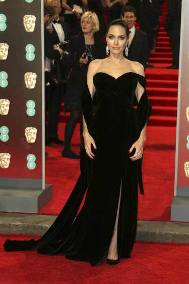 Angelina Jolie arrives at the BAFTA awards.