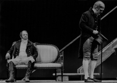"""Leo McKern as Governor Bligh, and James Condon as the Judge-Advovate in Ray Lawler's """"The Man Who Shot The Albatross."""" October 23, 1971."""