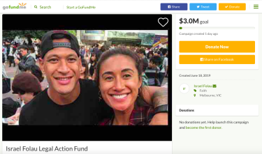 A screenshot of Israel Folau's GoFundMe page.