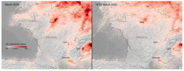 Images from the Sentinel-5 satellite show the coronavirus lockdown leading to drop in pollution across Europe compared with March 2019, left.