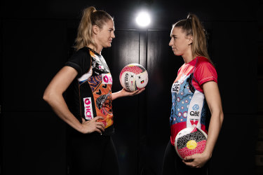 Game on: Caitlin Bassett and Sarah Klau face off before the Sydney derby.