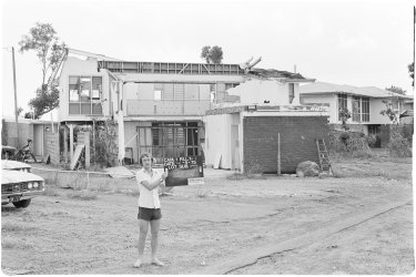 """One of 12,000 images taken of Darwin after Cyclone Tracy in 1974. Work has already started on saving these images from """"vinegar syndrome""""."""