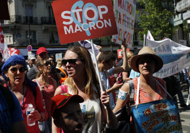 Protesters rally in Paris.
