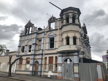 The damaged Broadway Hotel at Woolloongabba after the third fire in about eight years.
