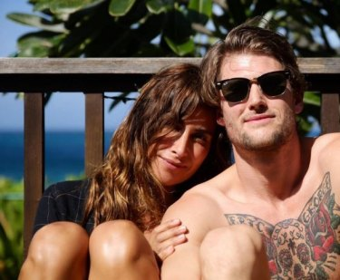 Private wedding: Jodhi Meares and her second ex-husband, photographer Nick Tsindos. The pair tied the knot in Hawaii but separated 14 months later.