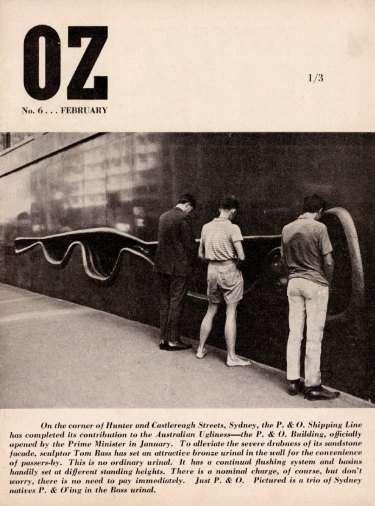 The cover of the February 1964 edition of Oz, which shows Neville and others pretending to urinate into a wall fountain in the street facade of the offices of the P&O shipping line.