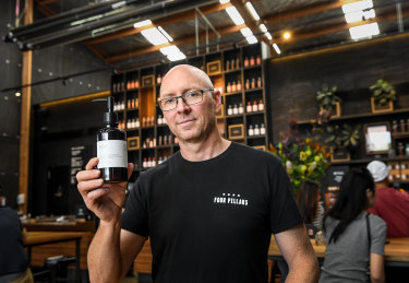 Cameron Mackenzie, head distiller at Four Pillars Gin. Four Pillars are using a by-product of the gin-making process to make hand sanitiser for its customers to use.