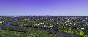 The view of Perth's central business district from Guildford, in the city's north east.