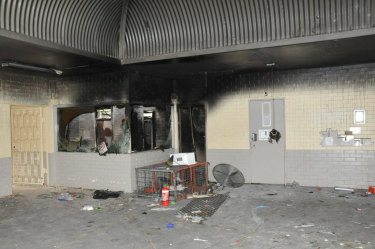 Fire damage at the facility.