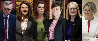 From left to right: Senators Chris Ketter, Jane Hume, Sarah Hanson-Young, Jenny McAllister, Amanda Stoker and Kristina Keneally.