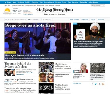 The Herald's homepage at the time of the Sydney siege.