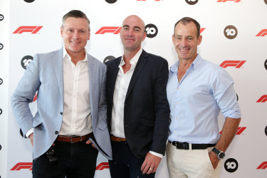 In the club: former Wallaby turned Network Ten sports presenter Matt Burke, with sales boss Rod Prosser and chief executive Paul Anderson