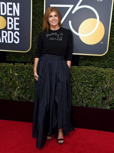 Connie Britton wearing a 'poverty is sexist' Lingua Franca shirt at the Golden Globes.