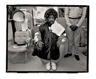 The Reverend Al Sharpton, at the PrimaDonna Beauty Care Center, Brooklyn, New York, 1988.