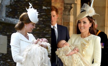 The Duchess of Cambridge at Princess Charlotte's christening in 2015, left, and Prince George's christening in 2013.