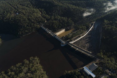 An aerial view of the current Warragamba Dam Wall that the NSW government is seeking to raise by as much as 17 metres, potentially flooding thousands of hectares including many Indigenous cultural sites.