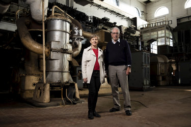John Jeremy, who was the last CEO of Cockatoo Island, and Mary Darwell, CEO of the Harbour Trust, in the old powerhouse on the island in Sydney Harbour.